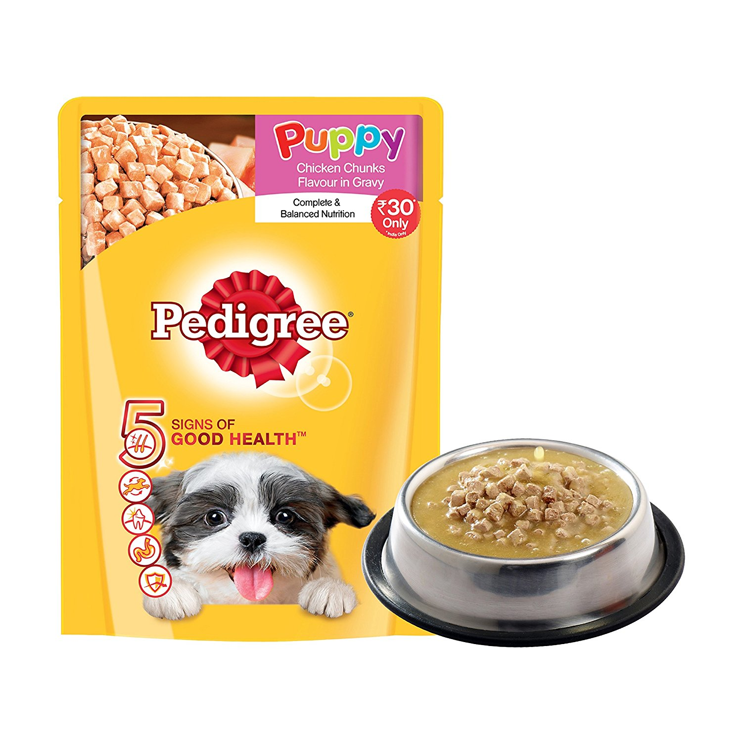 pedigree gravy puppy dog food chicken rice 80 gm pack of 3 nappets